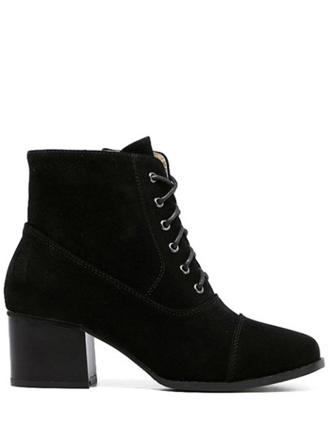 affordable Suede Square Toe Chunky Heel Boots - BLACK 39 Mobile