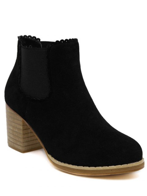 lady Scalloped Suede Chunky Heel Boots - BLACK 39 Mobile