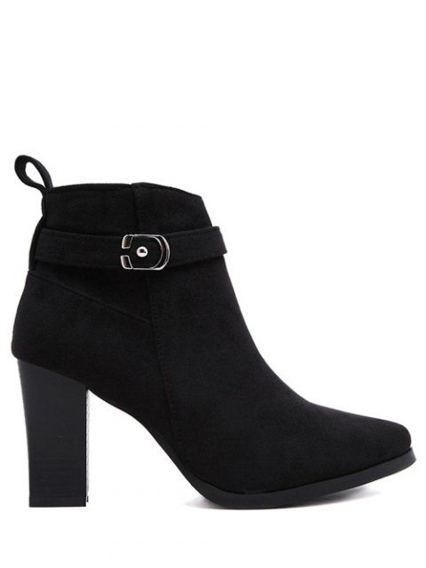 latest Flock Buckle Chunky Heel Boots - BLACK 39 Mobile