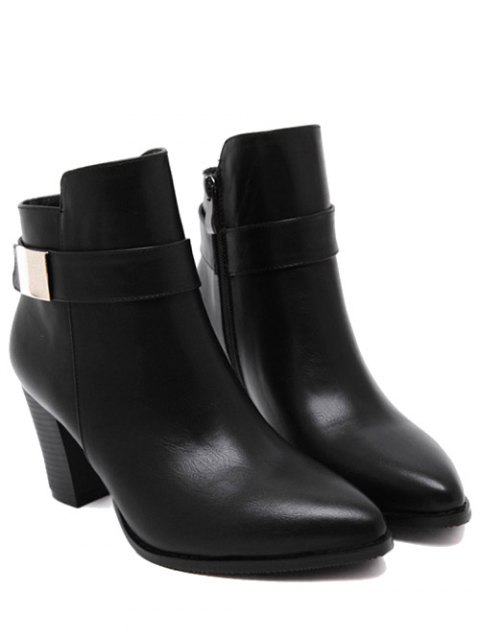 chic Metal Embellished Pointed Toe Chunky Heel Boots - BLACK 39 Mobile