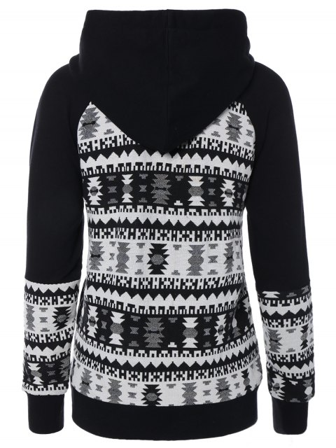 lady Front Pocket Jacquard Pullover Hoodie - WHITE AND BLACK L Mobile