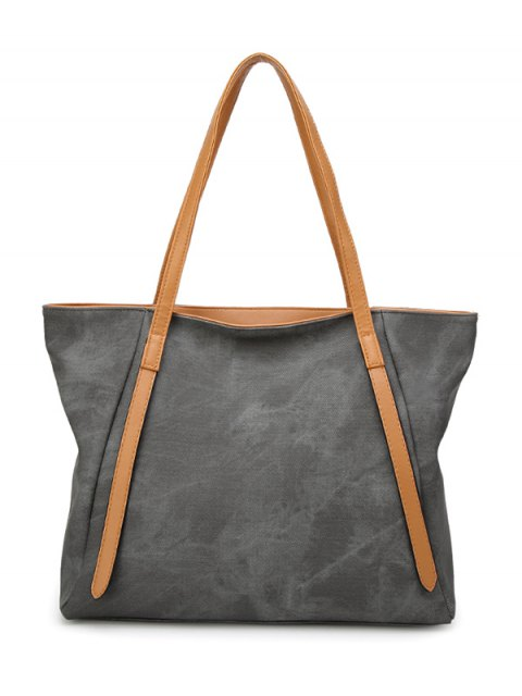 unique PU Leather Stitching Zip Shoulder Bag - DEEP GRAY  Mobile