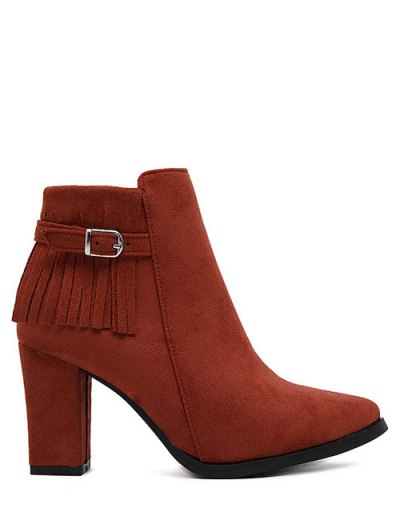 Fringe Pointed Toe Chunky Heel Ankle Boots - RED 37 Mobile