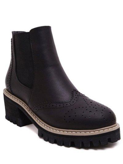 Vintage Engraving Chunky Heel Boots - BLACK 39 Mobile