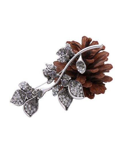 Rhinestone Design Floral Brooch - SILVER  Mobile