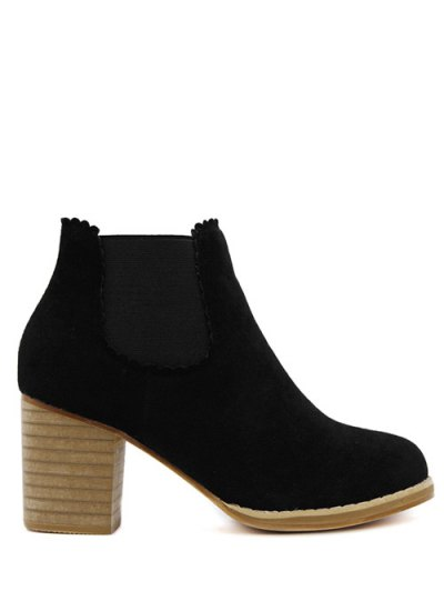 Scalloped Suede Chunky Heel Boots - BLACK 39 Mobile