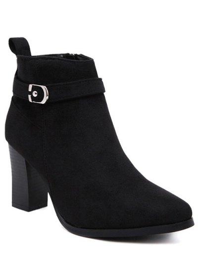 Flock Buckle Chunky Heel Boots - BLACK 39 Mobile