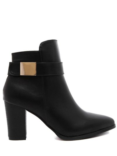 Metal Embellished Pointed Toe Chunky Heel Boots - BLACK 39 Mobile