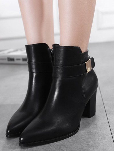 Metal Embellished Pointed Toe Chunky Heel Boots - BLACK 37 Mobile
