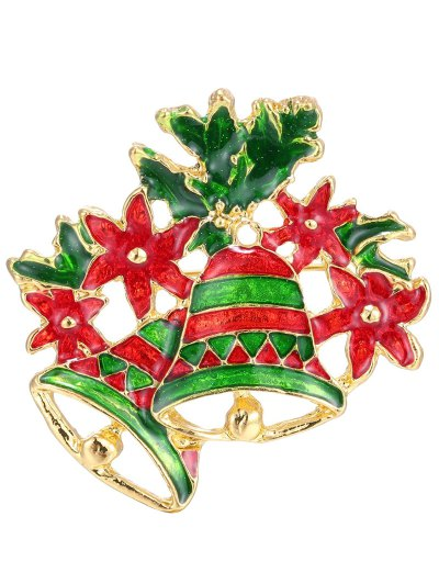 Flower Leaf Christmas Bells Brooch - Golden