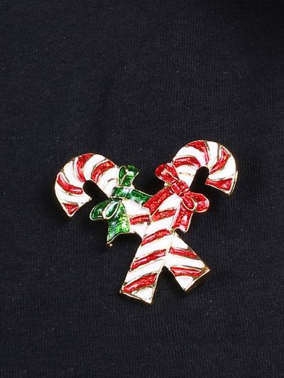 Alloy Bows Candy Cane Christmas Brooch - GOLDEN  Mobile