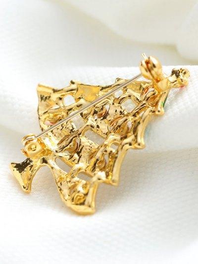 Rhinestone Pentagram Alloy Christmas Tree Brooch - GOLDEN  Mobile