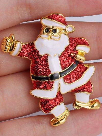 Alloy Sequins Santa Christmas Embellished Brooch - RED  Mobile