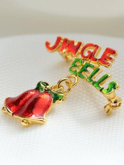 Alloy Bows Christmas Jingle Bells Brooch - GOLDEN  Mobile