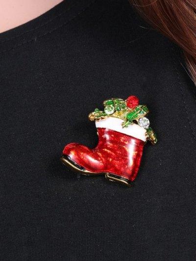 Alloy Leaf Rhinestone Christmas Shoe Brooch - GOLDEN  Mobile