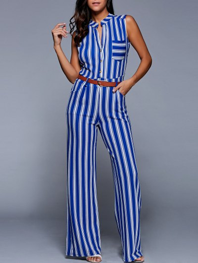 Striped Belted Plunging Neck Sleeveless Jumpsuit - BLUE S Mobile