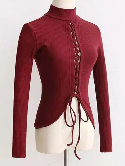 Reversible Lace Up Knitwear - Wine Red