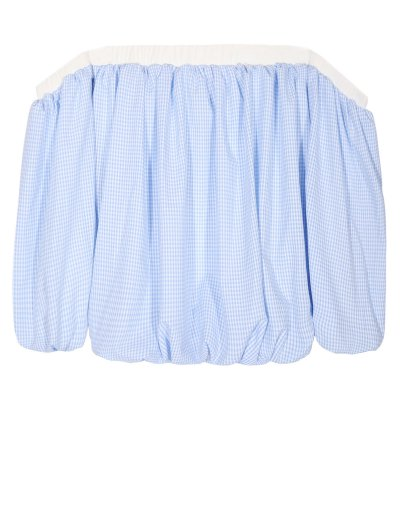 Off The Shoulder Checked Top - Blue And White