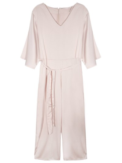 Flare Sleeve Belted Jumpsuit - NUDE PINK M Mobile