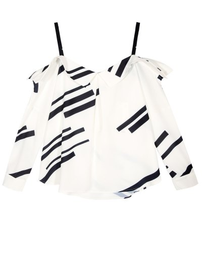 Long Sleeve Color Block Cami Blouse - WHITE L Mobile