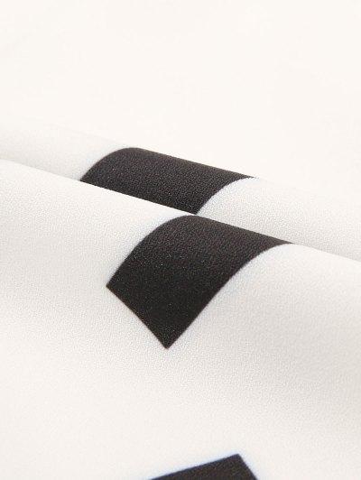 Long Sleeve Color Block Cami Blouse - WHITE L Mobile