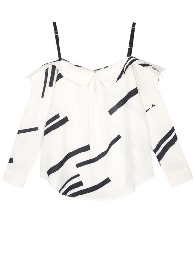 Long Sleeve Color Block Cami Blouse - WHITE M Mobile