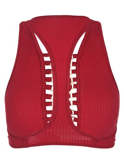 Lace Up Racerback Crop Top - RED 2XL Mobile