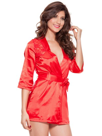 Cut Out Lace Spliced Wrap Sleepwear - RED 3XL Mobile