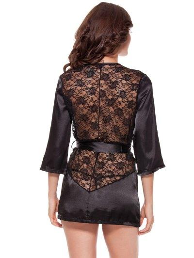Cut Out Lace Spliced Wrap Sleepwear - BLACK 2XL Mobile
