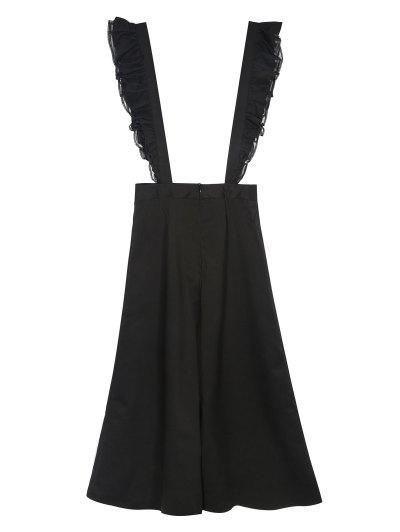 Flounced Culotte Overalls - BLACK M Mobile