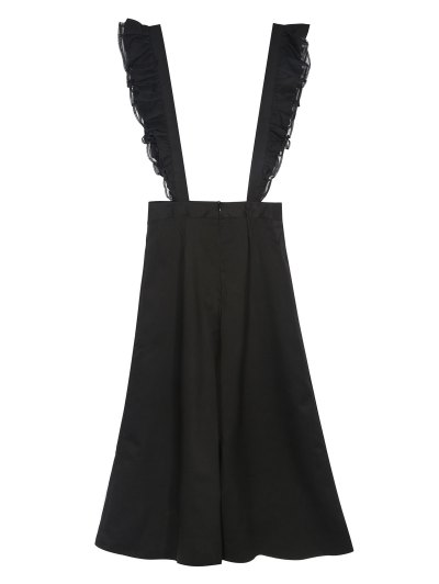 Flounced Culotte Overalls - BLACK S Mobile