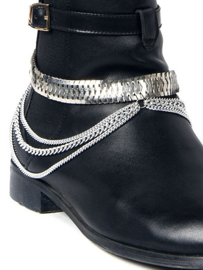 Multifunctional Snake Chain Layered Boot Anklet - SILVER  Mobile