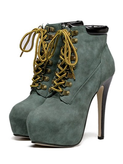 Platform Stiletto Heel Lace-Up Ankle Boots - BLACKISH GREEN 38 Mobile