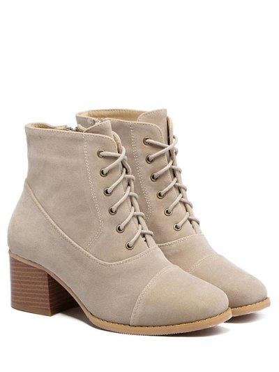 Suede Square Toe Chunky Heel Boots - APRICOT 38 Mobile