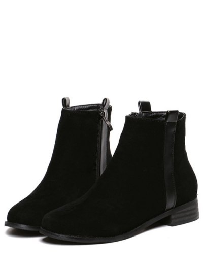 Rounde Toe Side Zip Suede Boots - BLACK 38 Mobile