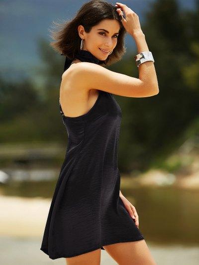 Pure Color Cami Satin Dress - BLACK L Mobile