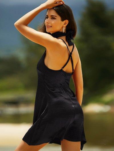 Pure Color Cami Satin Dress - BLACK M Mobile