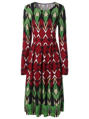 Long Sleeve Printed Swing Dress