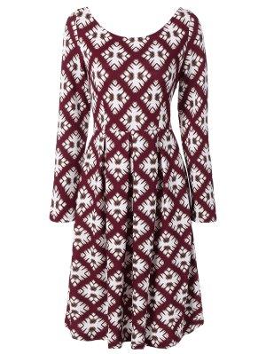 Scoop Neck Long Sleeve Flared Dress