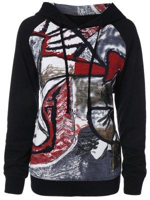 Graffiti Print Pullover Hoodie - Black