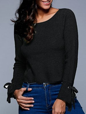 Slash Neck Cropped Sweater - Black