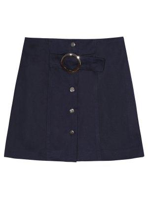 A Line Single-Breasted Skirt - Purplish Blue