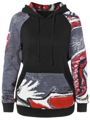 Front Pocket Printed Pullover Hoodie - Black