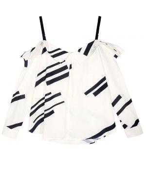 Long Sleeve Color Block Cold Shoulder Blouse - White