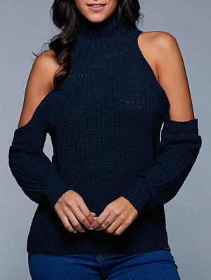 Stand Neck Cold Shoulder Sweater - Purplish Blue