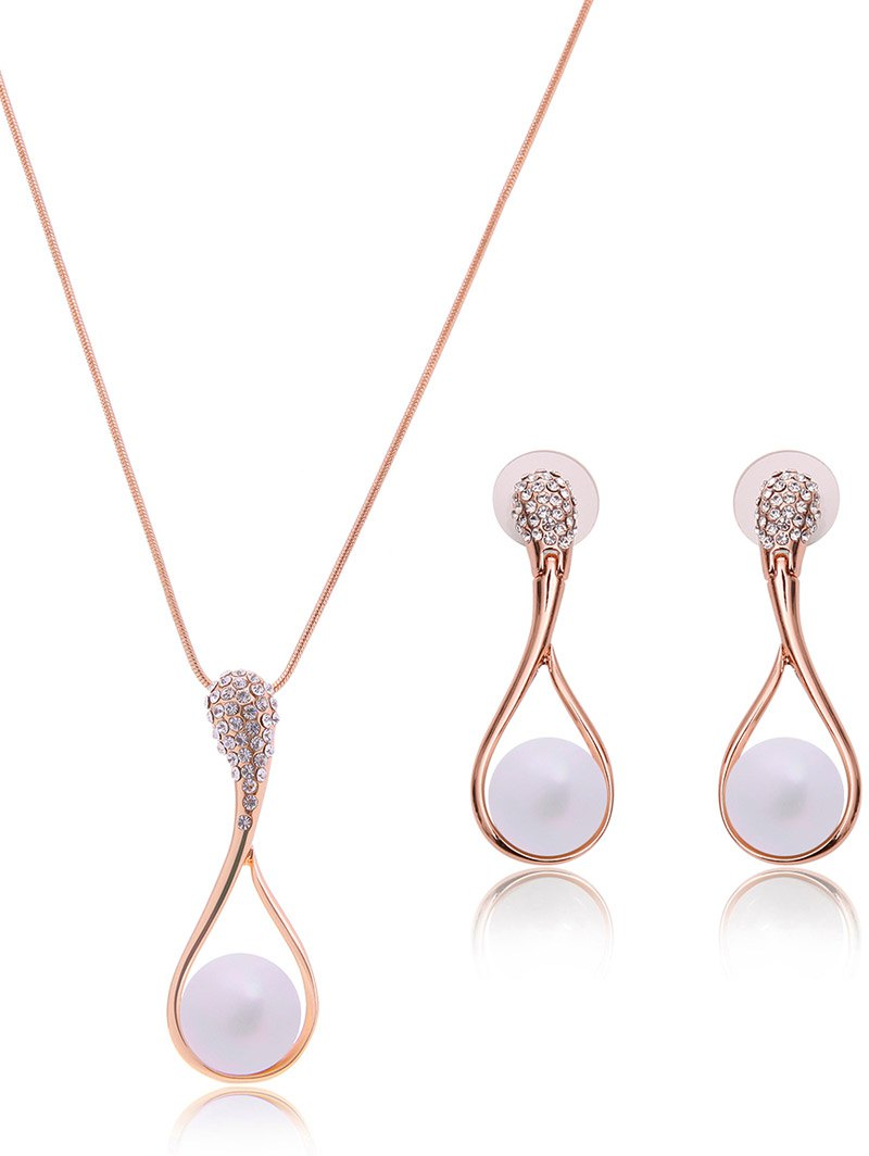 Faux Pearl Rhinestone Teardrop Jewelry Set