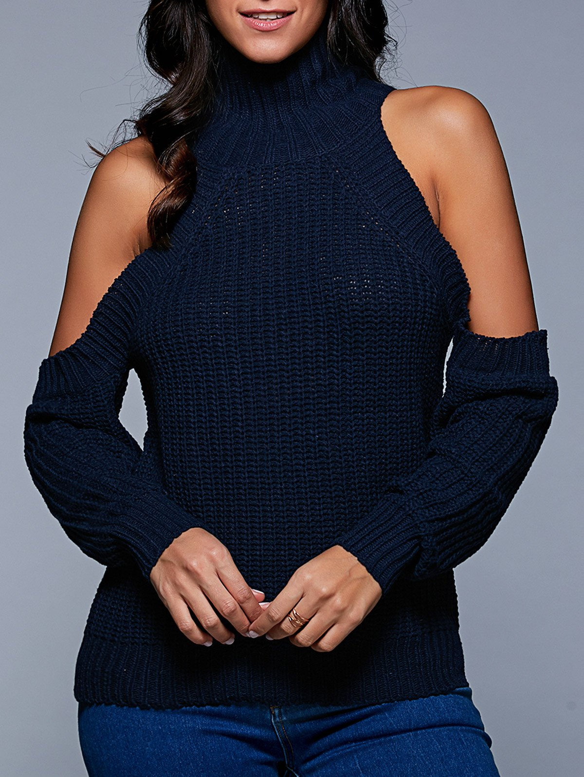 Stand Neck Long Sleeve Cold Shoulder Sweater