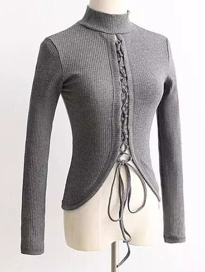 Reversible Lace Up KnitwearClothes<br><br><br>Size: M<br>Color: GRAY