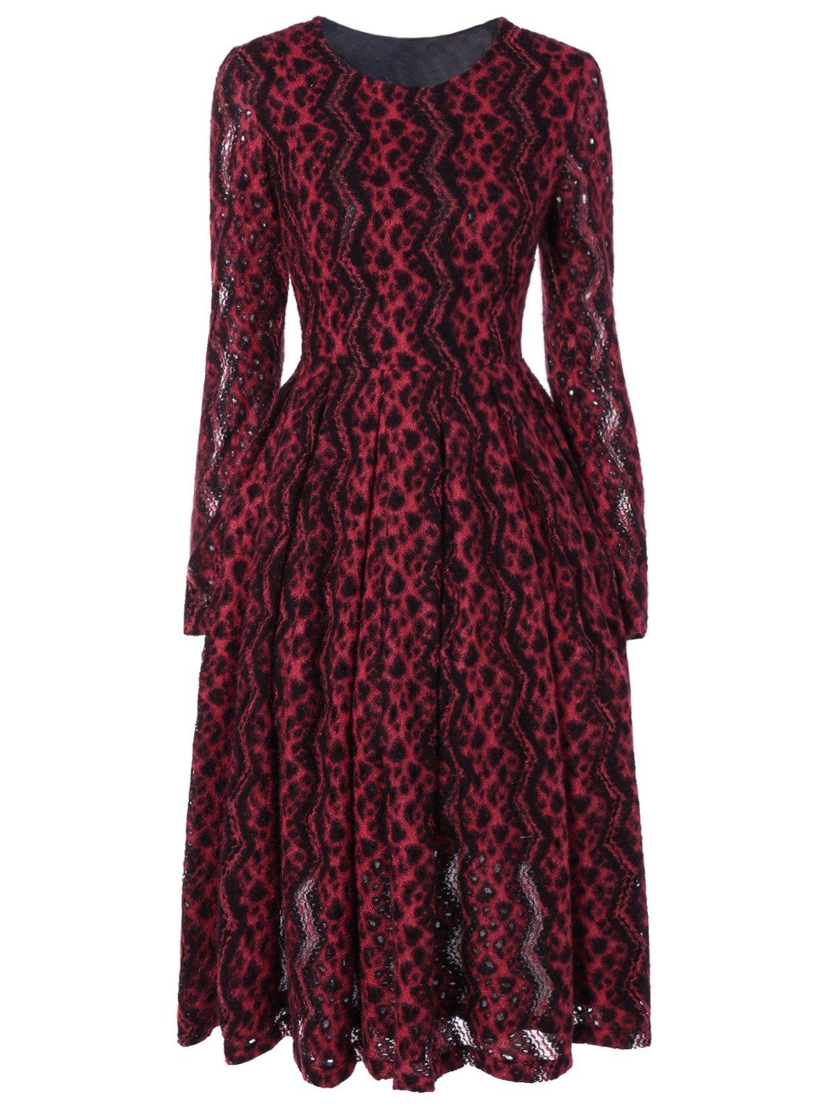Long Sleeve Chevron Stripe Swing Dress