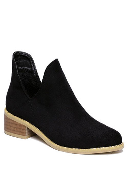 Cut Out Suede Ankle Boots